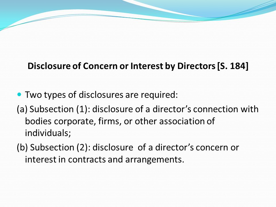 Disclosure of Concern or Interest by Directors [S. 184]